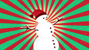 nice animation of cute snowman over vintage colorful sunburst and