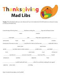 printable mad libs for thanksgiving happy thanksgiving
