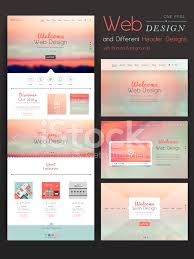 one page website template design with blurred background stock