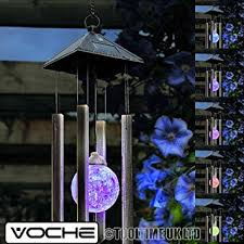 solar powered wind chime light voche solar powered colour changing wind chime light amazon co uk