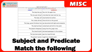 exercise of match the following for subject and predicate