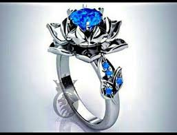 lotus engagement ring blue sapphire lotus engagement ring