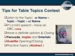 toastmasters table topics tips toastmasters speech contest
