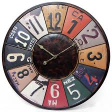 themed wall clock a license plate inspired wall clock makes for a addition to