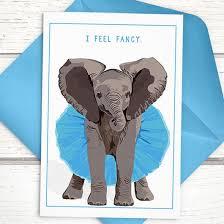 elephant greeting card elephant in tutu