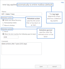 retention tags and retention policies in exchange 2016