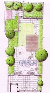 architects sketch of a garden design layout rose garden design