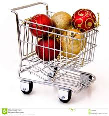 tree ornament in shopping cart royalty free stock image