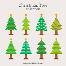 collection of christmas trees in different shades of green vector