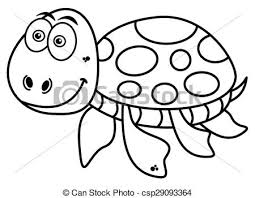 clip art vector happy turtle coloring csp29093364