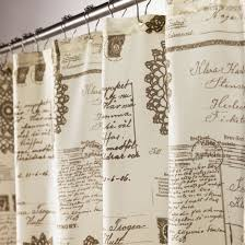 Shower Curtains With Writing Script Fabric Shower Curtain Bathroom Pinterest