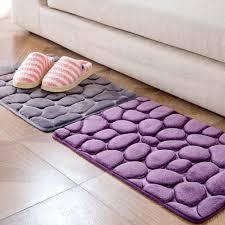Bathroom Carpets Memory Foam Pebbles Rock Bath Rug 60x40cm Non Slip Microfiber Bath