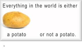 Potatoe Meme - everything in the world is either or not a potato a potato