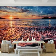 custom photo wallpaper sunset water sky waves beach landscape