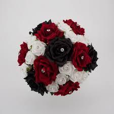 bridal bouquet silk wedding flowers black red white silver calla