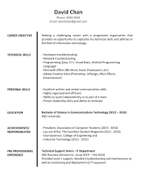Examples Of Objective In A Resume by Sample Resume For Fresh Graduates It Professional Jobsdb Hong Kong
