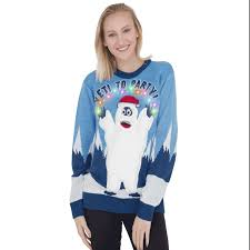 ugly christmas sweaters that light up and sing women s yeti to party abominable snowman light up led ugly sweater