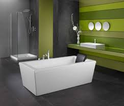 black ceramic flooring tile with white stand alone bathtub with