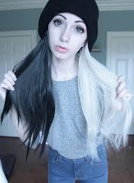 half black dyed alternative hair goth alternative grunge