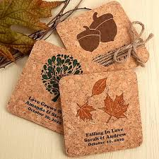 coaster favors custom printed square corkboard wedding coasters