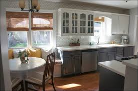 kitchen bright yellow curtains window tiers blue and grey