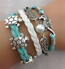 leather charm bracelet ebay images New infinity hippocampus turtle friendship antique silver leather jpg