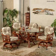 Dining Room Chairs On Casters Leikela Rattan Tropical Dining Furniture Set
