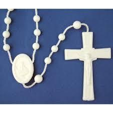 white rosary plastic rosary white
