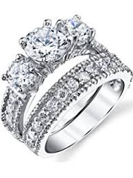 what is a bridal set ring sterling silver cubic zirconia wedding engagement ring