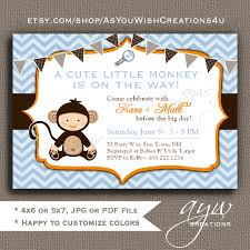 monkey invitations baby shower printable monkey baby shower invitation boy shower invites