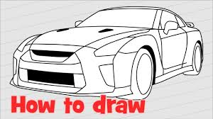 nissan gtr skyline drawing how to draw a car nissan gt r nismo 2017 quick youtube