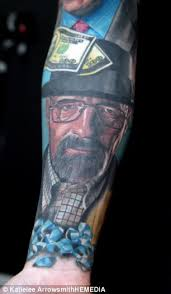 breaking bad fanatic gets heisenberg and other characters tattooed