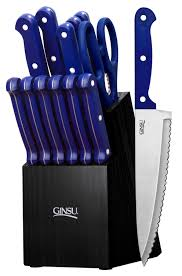 Dishwasher Safe Kitchen Knives Ginsu Essential Series 14 Piece Stainless Steel Serrated Knife Set