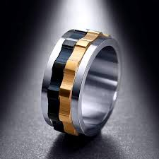 unique metal rings images Ring moveable gear stainless steel charming ring for men with jpg