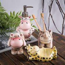 Cute Bathroom Sets by 3d Ceramic Cute Bathroom Set Cartoon Soap Dispenser Toothbrush