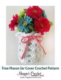 white mason jar cover free crochet pattern from maggie u0027s crochet