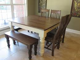 farmhouse kitchen table with bench custom square farm trends