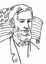 lincoln and american flag 4th of july coloring page for kids