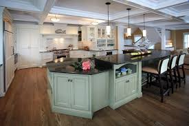 good looking 2 level kitchen beach style with coffered ceiling