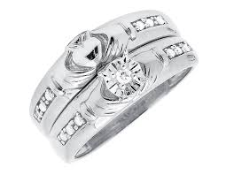 wedding ring trio sets 10k white gold claddagh diamond bridal wedding band ring