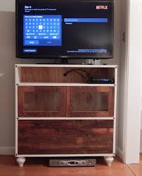 furniture reclaimed wood tv stand with double shelves for family