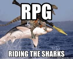 Meme Generator Raptor - rpg riding the sharks raptor shark meme generator