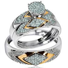 white gold wedding band sets his wedding rings set trio men women 14k white