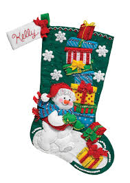 snowman with presents bucilla kit