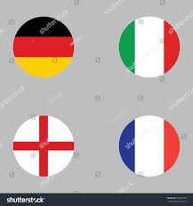 England Flag Round Round Button National Flag Germany Italy Stock Vector 679875799