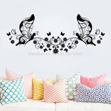 hot sellings 114 46cm classical black flower butterfly wall art hot sellings 114 46cm classical black flower butterfly wall art living room floral wall stickers home decorations wall decals in wall stickers from home