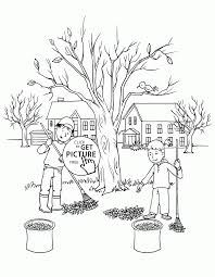 kids raking leaves coloring pages for kids fall printables free