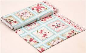 light blue flower butterfly panel fabric cherry blossom blank