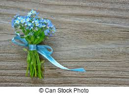 small bouquet of blue forget me not a blue ribbon on stock