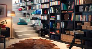 furniture dazzling home library feats black shelving storage